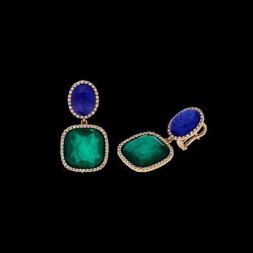 Orecchini in oro rosa 18 carati,smeraldi,tanzanite e diamanti bianchi taglio brillante