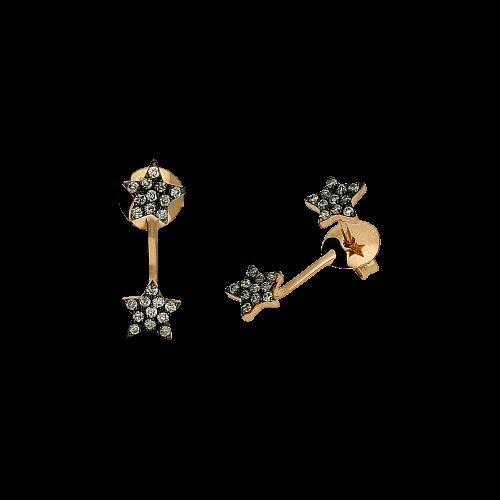 Orecchini in oro rosa 18 carati e diamanti neri taglio brillante