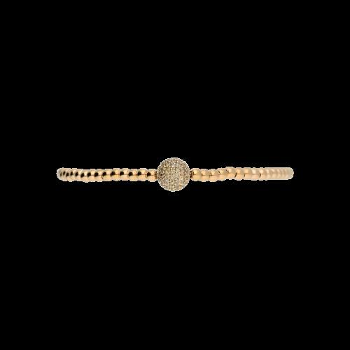 Bracciale sfere semirigido in oro rosa con diamanti brown