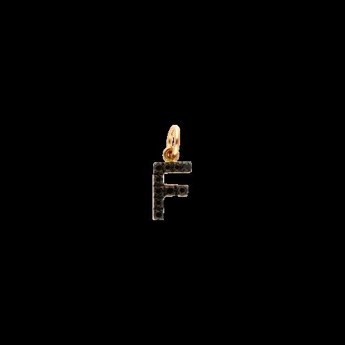 F - Ciondolo in oro rosa 18 carati e diamanti neri taglio brillante