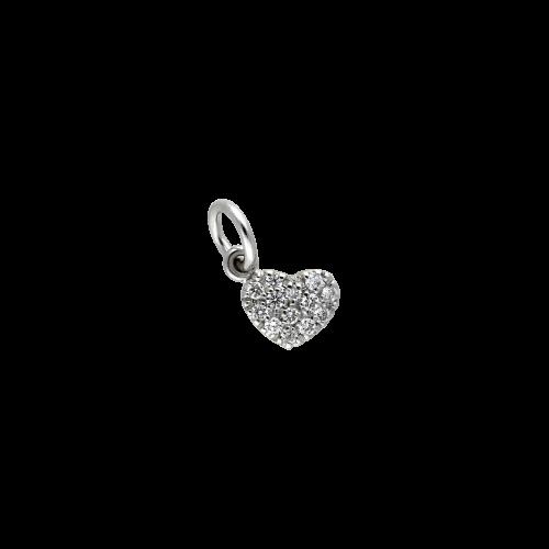 CUORE - Ciondolo in oro bianco 18 carati e diamanti bianchi taglio brillante