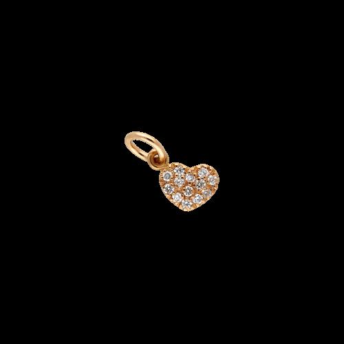 CUORE - Ciondolo in oro rosa 18 carati e diamanti bianchi taglio brillante