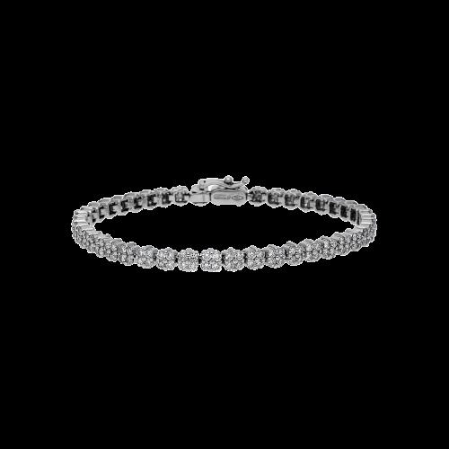 Bracciale tennis in oro bianco 18 carati e diamanti bianchi taglio brillante incassati con manifattura invisible setting