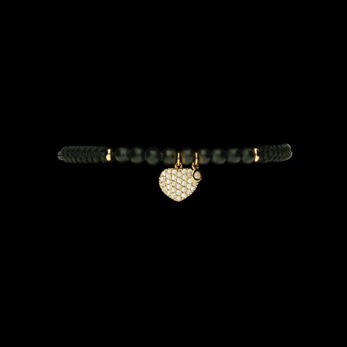 Bracciale cordone con onici e cuore in oro rosa 18 carati e diamanti
