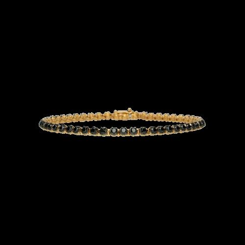 Bracciale tennis in oro rosa e diamanti neri - double face