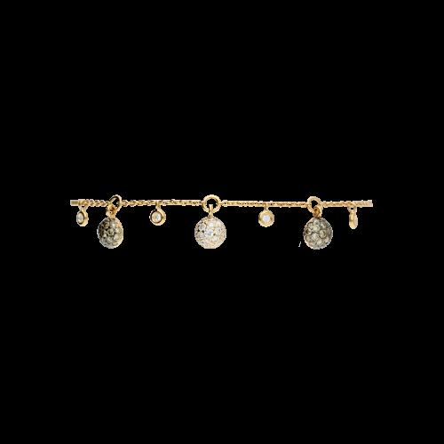 Bracciale in oro rosa e  pendenti con diamanti bianchi e diamanti brown