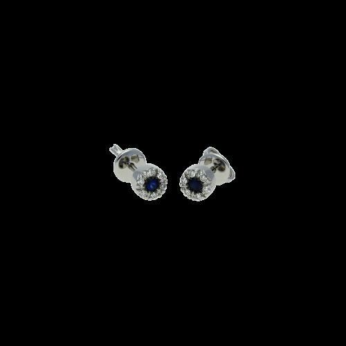 Orecchini in oro bianco 18 carati con diamanti e zaffiri blu