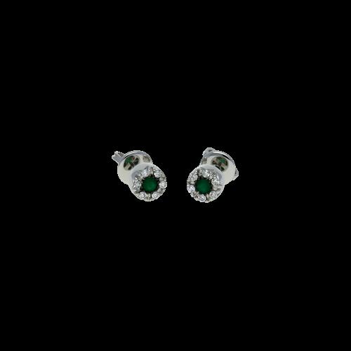 Orecchini in oro bianco 18 carati con tsavorite e diamanti bianchi taglio brillante