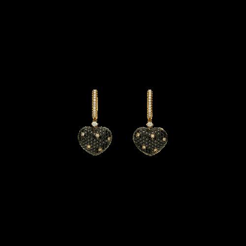 Orecchini in oro rosa 18 carati con diamanti bianchi e diamanti neri taglio brillante