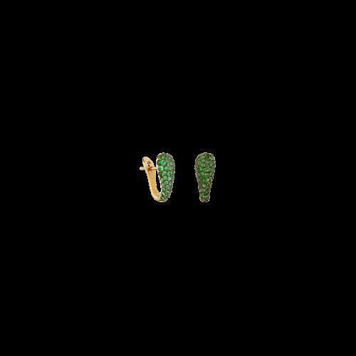 Orecchini in oro rosa 18 carati e tsavorite taglio brillante