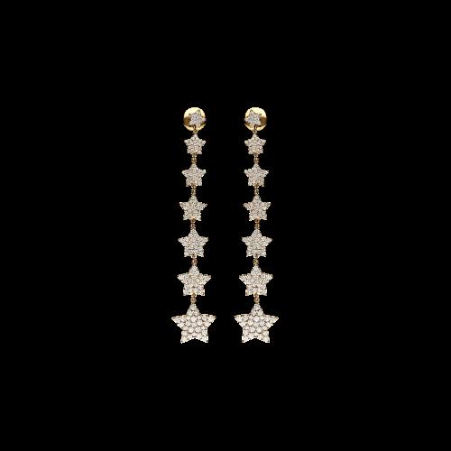 Orecchini Stelle in oro rosa 18 carati e diamanti bianchi