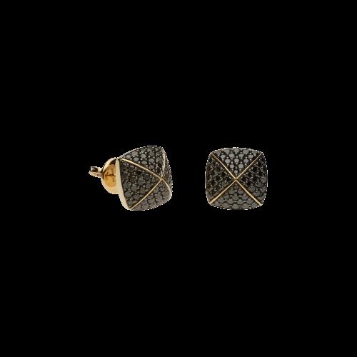 Orecchini PIRAMIDI in oro rosa 18 carati e diamanti neri taglio brillante