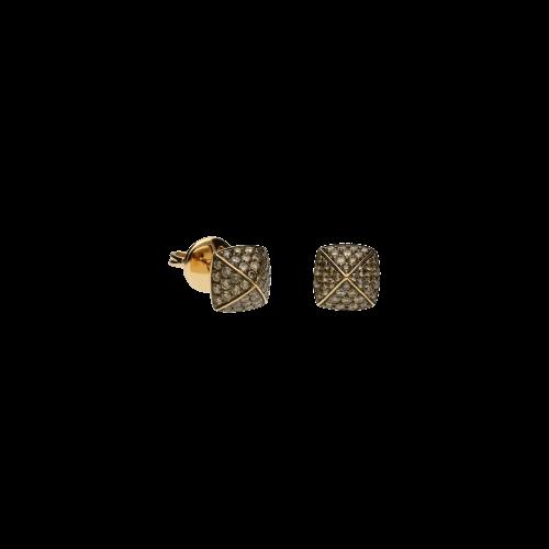 Orecchini PIRAMIDI in oro rosa 18 carati e diamanti brown taglio brillante