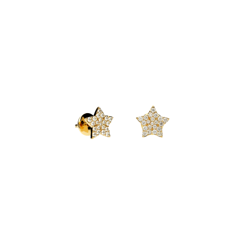Orecchini Stelle a lobo in oro rosa e diamanti bianchi