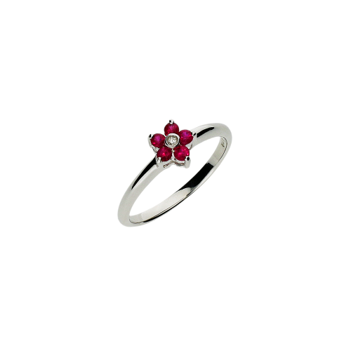 Anello in oro bianco 18 carati,rubini naturale e diamante bianco taglio brillante