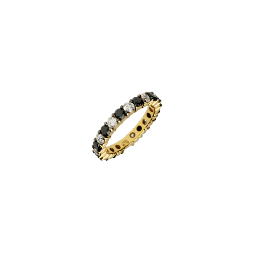 Anello in oro giallo , diamanti bianchi e diamanti neri taglio brillante - possibilità di messa a misura
