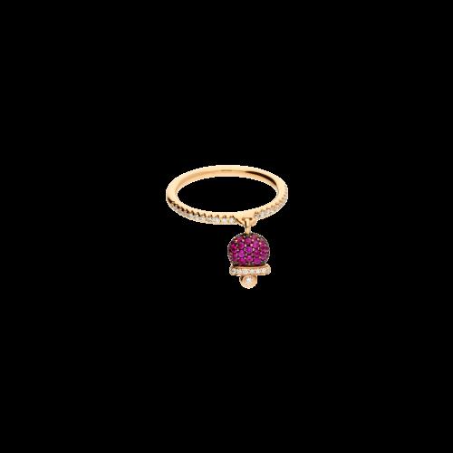Anello Campanella in oro rosa, diamani bianchi e rubini naturali - misura 14 - possibilità di messa a misura