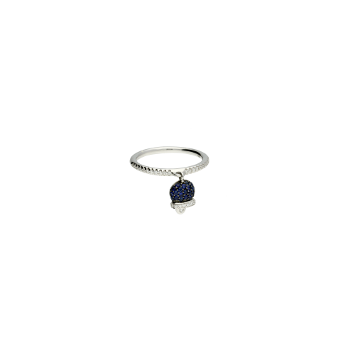 Anello Campanella in oro bianco, diamanti bianchi e zaffiri blu - misura 15