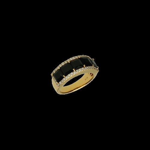 Anello in oro rosa 18 carati con onice e diamanti bianchi taglio brillante