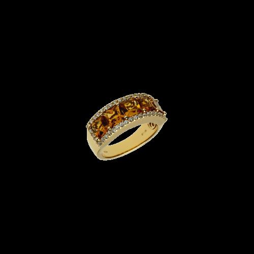 Anello in oro rosa 18 carati con quarzo citrino e diamanti bianchi taglio brillante
