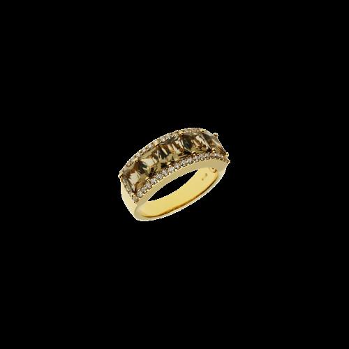 Anelli in oro rosa 18 carati con quarzo fumÈ e diamanti bianchi taglio brillante