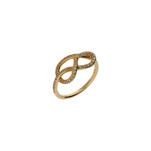 Anello infinito in oro rosa 18 carati e diamanti bianchi taglio brillante