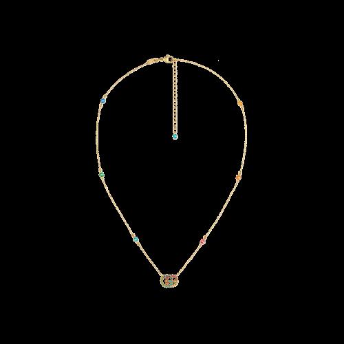 Collana Gucci GG Running in oro giallo e pietre preziose -  42 cm - YBB48162300100U