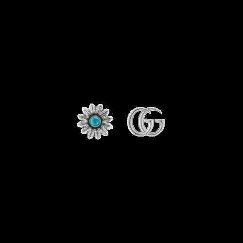 Orecchini GG Marmont in argento con fiore e logo GG - YBD52734400100U
