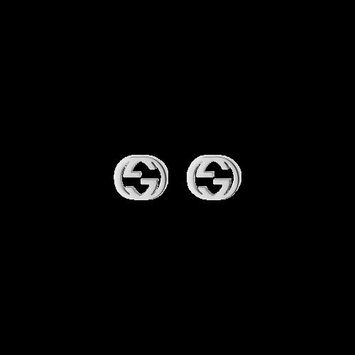 ORECCHINI GUCCI INTERLOCKING IN ORO BIANCO - YBD66211100200U