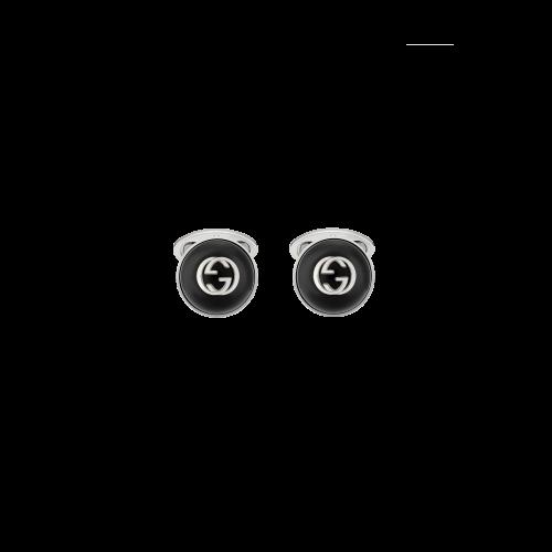 GEMELLI GUCCI INTERLOCKING IN ARGENTO CON ONICE - YBE64558900200U