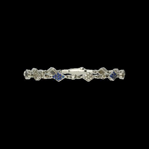 Bracciale in oro bianco 18 carati con diamanti bianchi e zaffiri blu taglio brillante