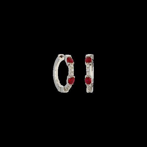 Orecchini in oro bianco 18 carati con rubini naturali e diamanti bianchi taglio brillante