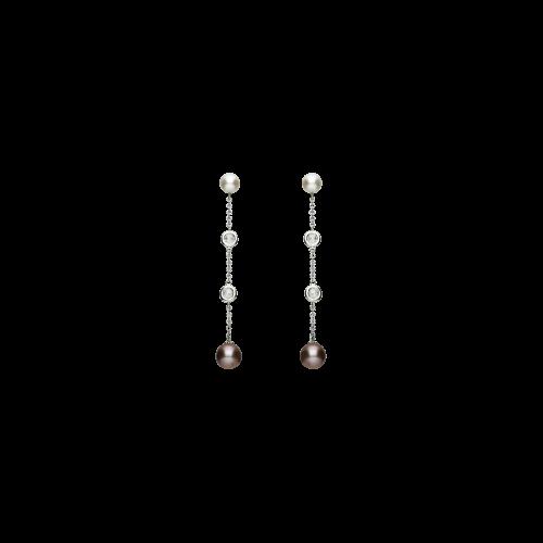 Orecchini pendenti perle bicolore diamanti rosette e oro bianco 18 ct