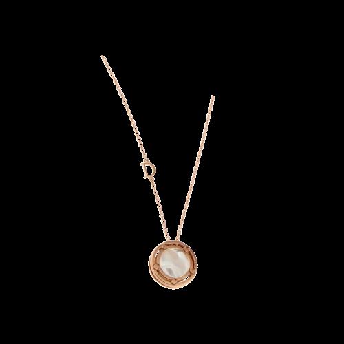 Collana oro rosa ciondolo madreperla diamanti bianchi -
